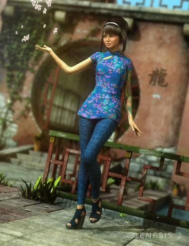 Tokyo Stroll Outfit for Genesis 2 Female(s)