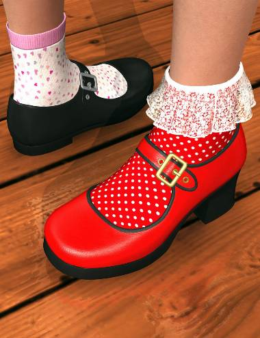 Mary Janes and Socks for Genesis 2 Female(s)