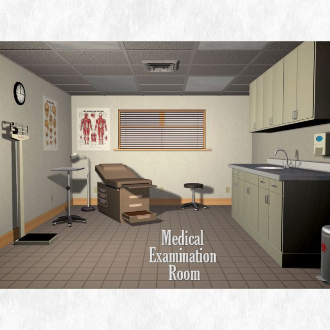 medical examination room props for poser and daz studio