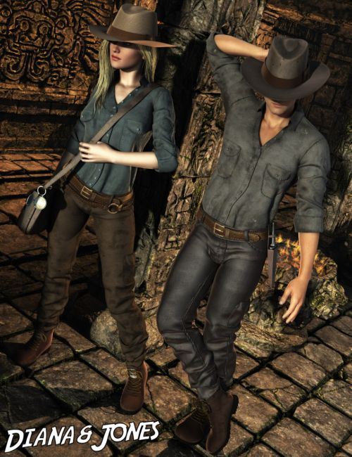 Diana and Jones Outfit for Genesis 2 Male(s) and Female(s)