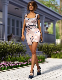 Peplum Dress and Blossom Shoes for Genesis 2 Female(s)