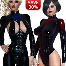 B#1 1 Click Latex TimeShifters Super Skinz Bodygloves