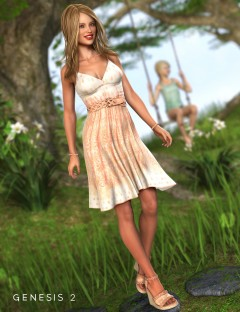 Southern Peach Sundress Outfit for Genesis 2 Female(s)