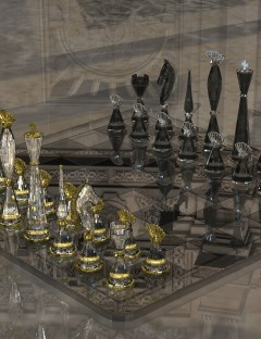 Glass Gambit: Chess Set and Shader Presets for DAZ Studio