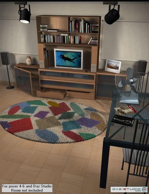 Home one living room furniture for daz studio and poser for Living room 2 for daz studio