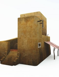 Desert House with Stairs