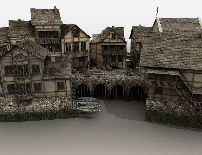Medieval Fantasy Village Cityscapes Buildings For Daz