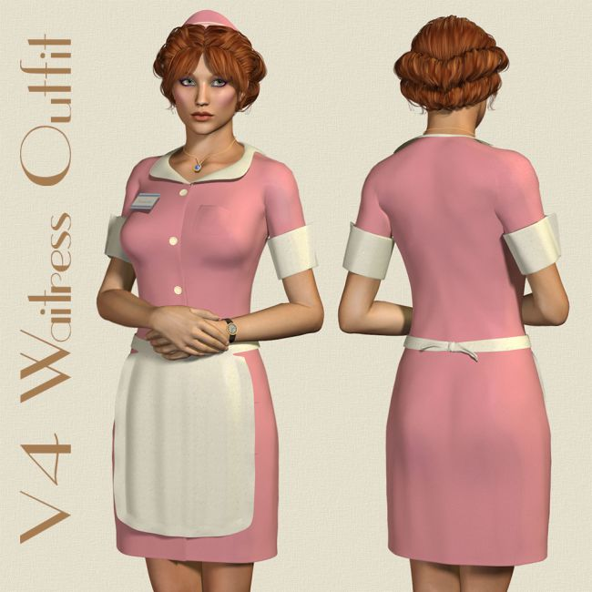 v4 waitress outfit clothing for daz studio and poser. Black Bedroom Furniture Sets. Home Design Ideas