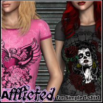 Afflicted for Simple T-shirt Top