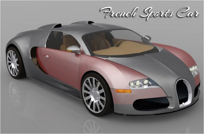 French Sports Car (Poser, 3ds, Vue, Obj)