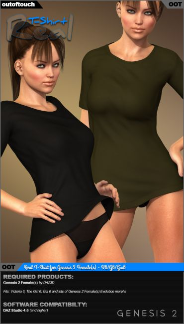 Real T-Shirt for Genesis 2 Female(s)