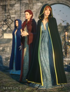 Hooded Cloak Pack for Genesis 1 Female(s)