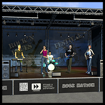 Rock band instruments and stage