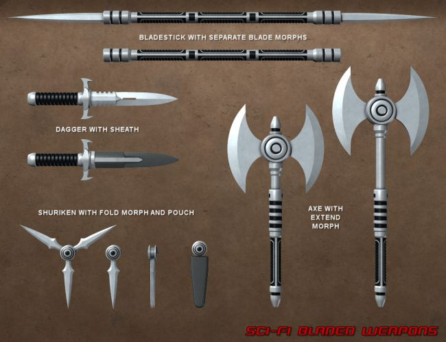 Sci Fi Bladed Weapons | Warfare Weapons for Daz Studio and ...