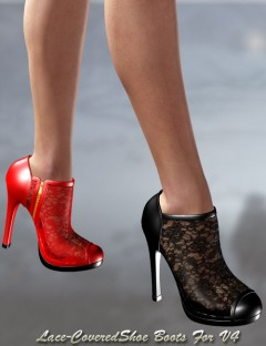 Lace-Covered Ankle Boots
