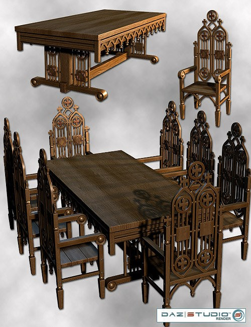 Medieval furniture pack environments and props for daz for Medieval living room furniture