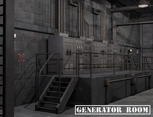 Generator Room Environments And Props For Daz Studio And
