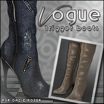 Vogue for Trigger Boots Poser/Daz