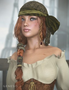 Piratess Hair for Genesis 1 and 2 Female(s)