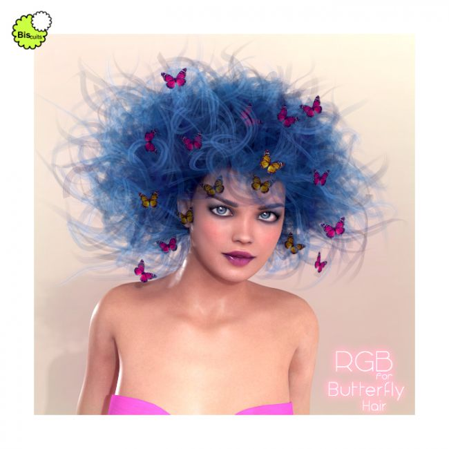 biscuits rgb for butterfly hair hair for poser and daz studio