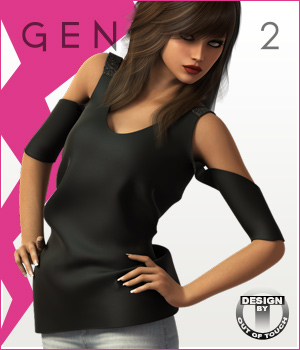 Fashion Blizz- Bare Shoulders Shirt for Genesis 2 Female(s)