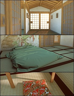 Japanese Corridor and Bedrooms Environment