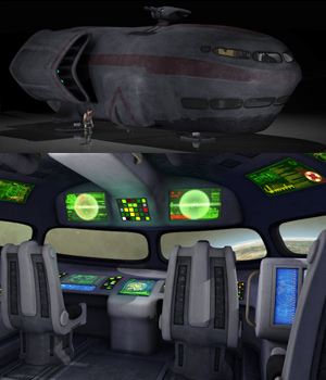Spaceship with detailed interior