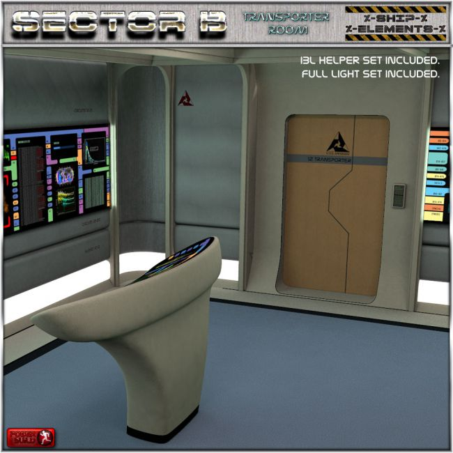 Ship elements b8 transporter room architecture for for Living room 2 for daz studio