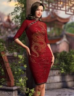 Cheongsam Dress for Genesis 2 Female(s)