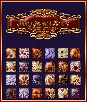 Fancy Jeweled Hearts Layer Styles