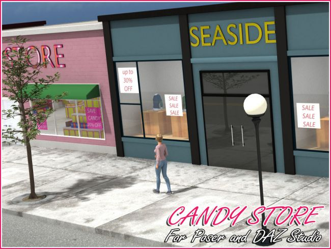 Candy Store Exterior | Architecture for Poser and Daz Studio