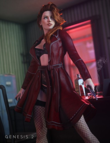 Sinful Nights Lingerie and Overcoat for Genesis 2 Female(s)