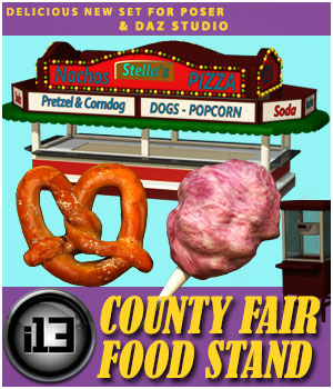 i13 County Fair FOOD Stand for Poser and DAZ Studio