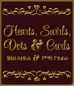 Hearts, Swirls, Dots & Curls Brushes and png Files Pack
