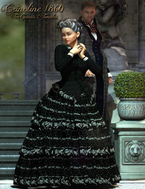 1860 Crinoline Dress for Genesis 2 Female(s)