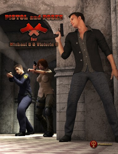 Pistol and Poses for Micheal 6 and Victoria 6