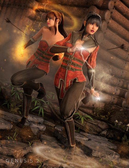 Fire Lilly Outfit for Genesis 2 Female(s)
