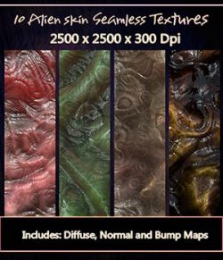 10 Seamless Alien Textures with Diffuse, Normal and Bump Maps.