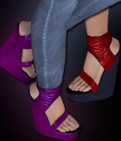 S1M Scarlet: Footwear - Ankle Cuff Platform Wedge