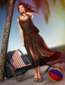 Maxi Skirt Outfit and Purse for Genesis 2 Female(s)