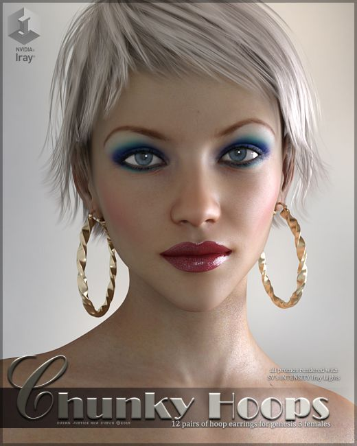 sv s sweet sassy earrings accessories for poser and daz studio