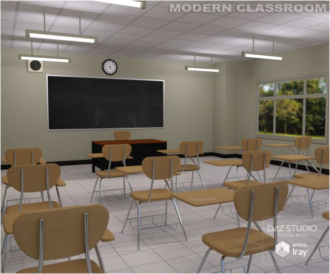 Modern Classroom Architecture For Poser And Daz Studio