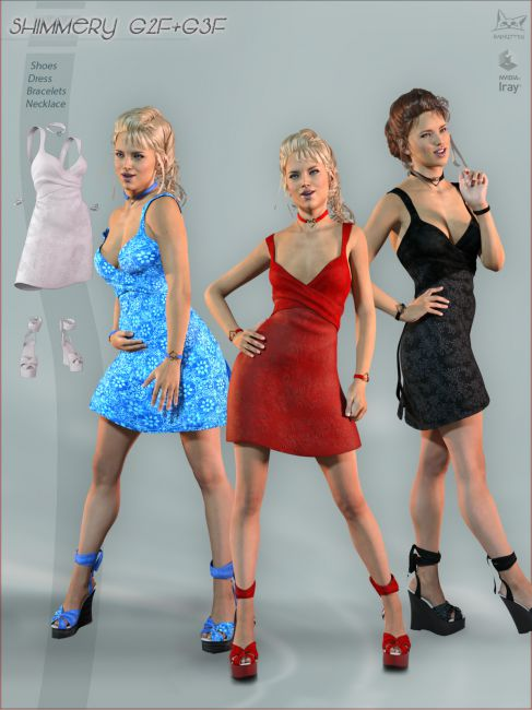 Shimmery Shoes and Dress G2F and G3F Bundle