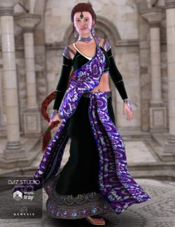 NeoIndia Outfit and Hair Bundle for Genesis 2 Female(s) and Genesis 3 Female(s)