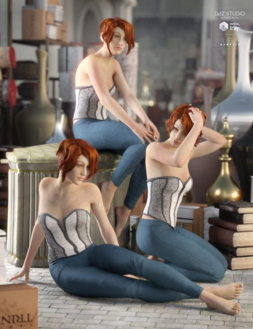 Classic Pin-Up Sitting Poses for Genesis 3 Female(s)