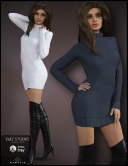 Cozy Sweater Dress Outfit for Genesis 3 Female(s)