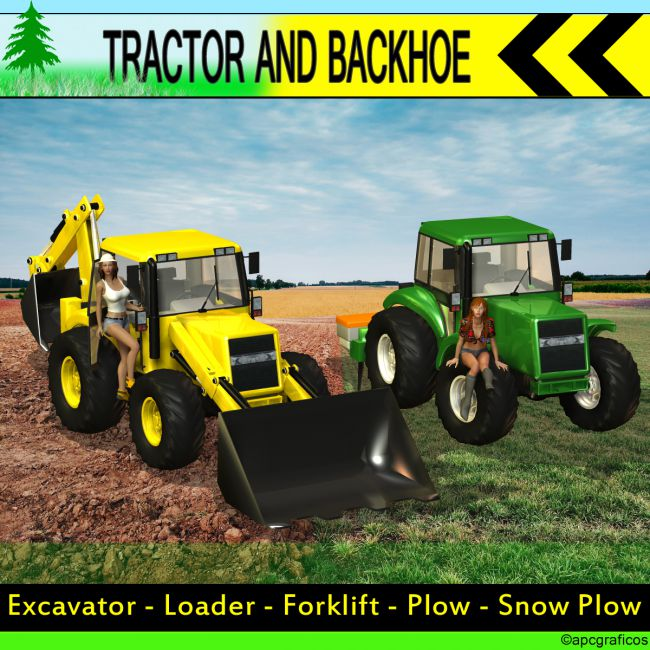 Tractor and Backhoe