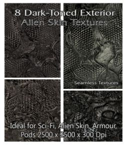 8 Dark-Toned Exterior Alien Skin Seamless Textures- Merchant Resource