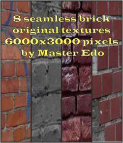 8 Seamless brick original  textures  6000x3000 pixels  by Master Edo
