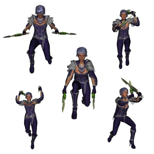 Dual Wield Swords Poses For G3 3d Models For Poser And Daz Studio